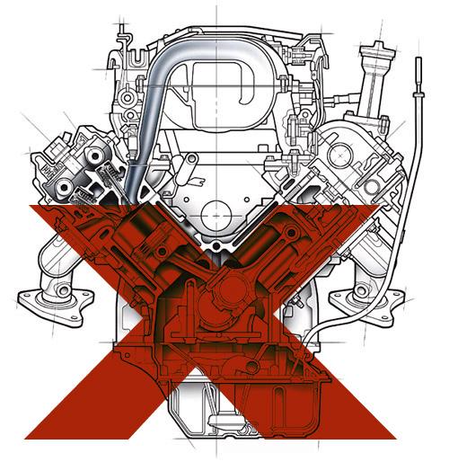 Motores V6 e V8 em baixa