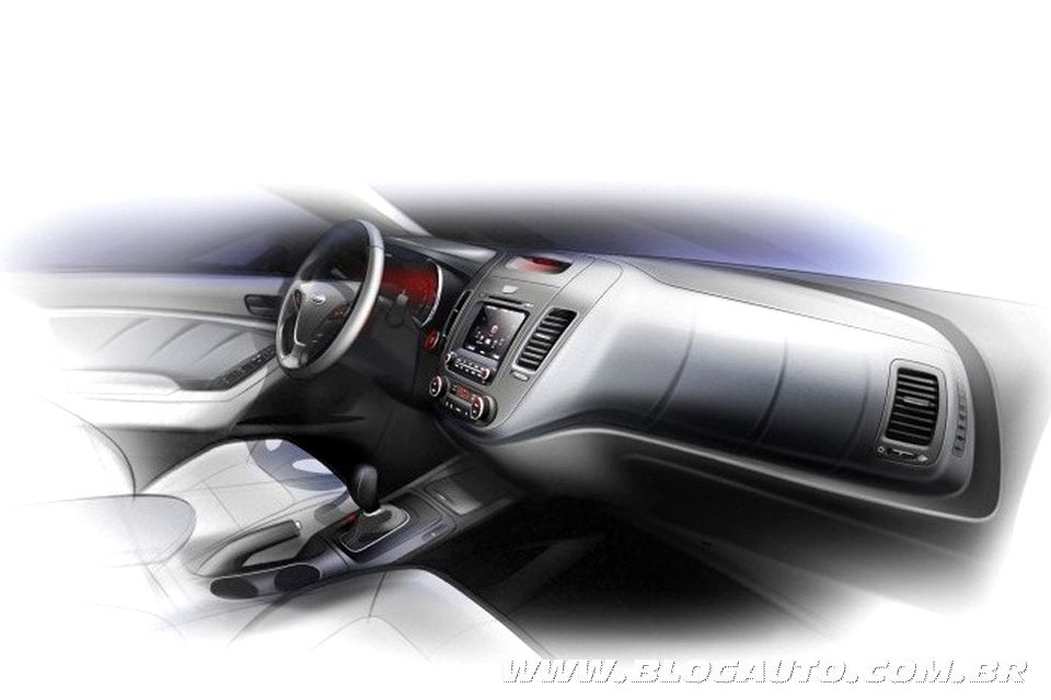 Teaser do interior do novo Kia Cerato