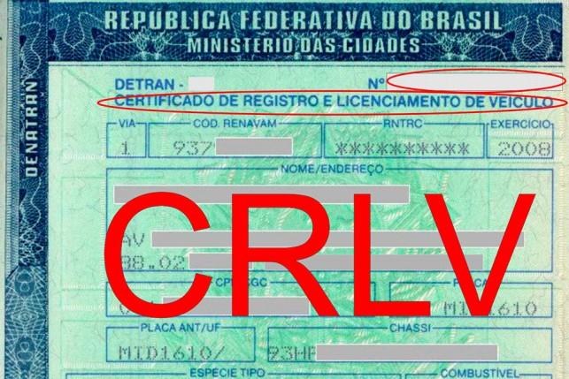 Certificado de Registro e Licenciamento do Veículo (CRLV), utilizado para transferir a documentação