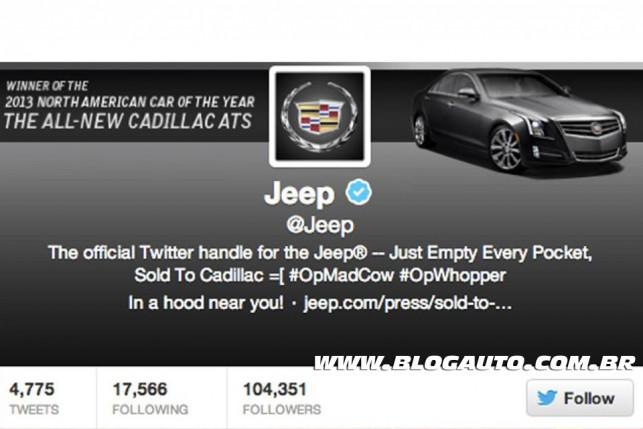 Imagem do Twitter da Jeep alterado para Cadillac