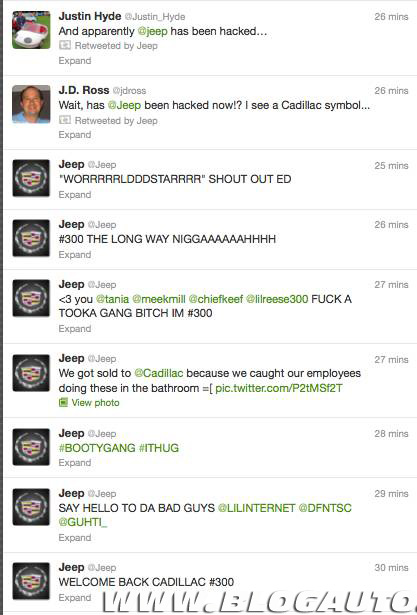 Timeline do Twitter Oficial da Jeep