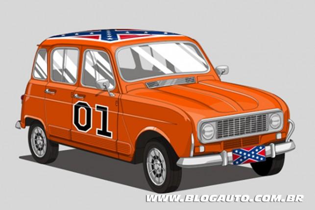 Renault 4 - General Lee do filme Gatinhas & Gatões