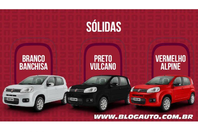Fiat Uno 2015 Attractive e Evolution Branco Banchisa, Preto Vulcano e Vermelho Alpine Sólidas