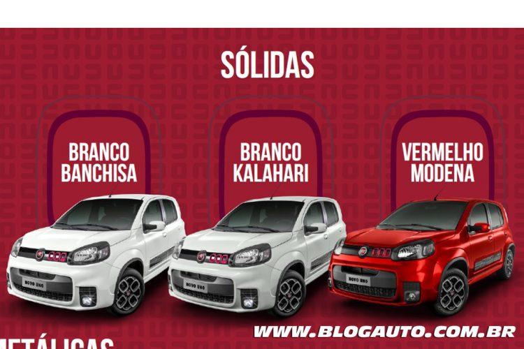 Fiat Uno 2015 Sporting Branco Banchisa,  Branco Kalahari e Vermelho Modena Sólidas