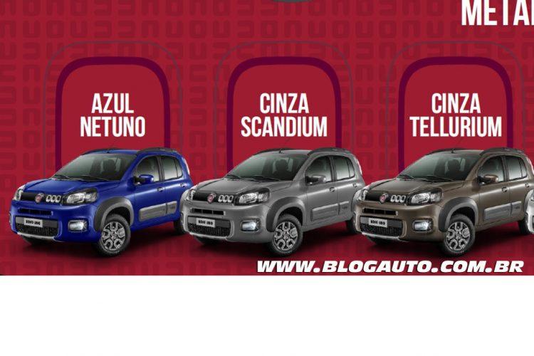 Fiat Uno 2015 Way Azul Netuno, Cinza Scandium e Cinza Tellurium Metálicas