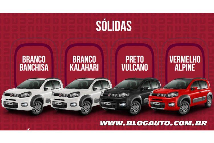 Fiat Uno 2015 Way Branco Banchisa,  Branco Kalahari, Preto Vulcano e Vermelho Alpine Sólidas