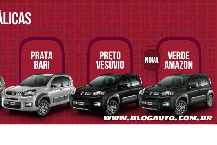 Fiat Uno 2015 Way Prata Bari, Preto Vesúvio e nova Verde Amazon Metálicas