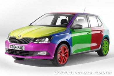 Tecnologia da Skoda permite mudar cor do carro em qualquer parte. O resultado é pavoroso
