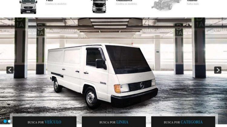 Site de vendas de peças genuínas de veículos comerciais antigos da Mercedes-Benz