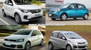 Fiat Mobi, Nissan March, Volkswagen Gol e JAC J2 estão entre os 10 carros mais baratos do Brasil